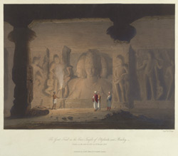 The Great Triad in the Cave Temple of Elephanta, near Bombay, drawn in 1803
